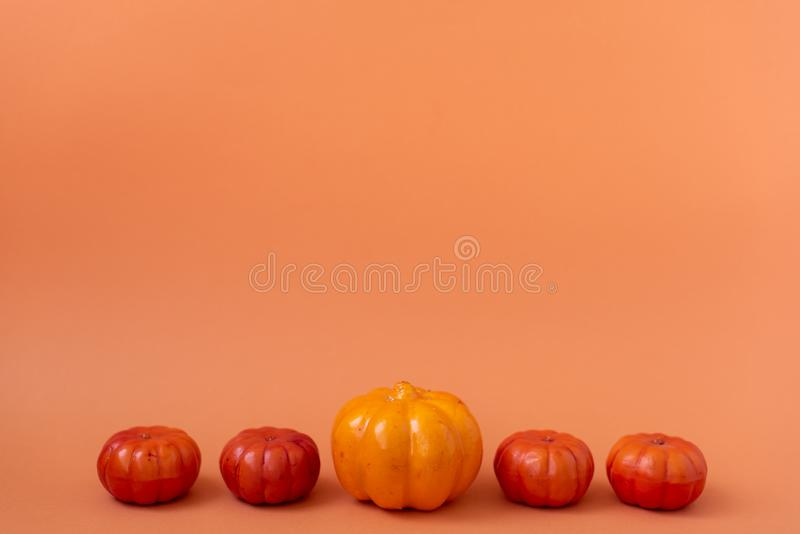 Table top view aerial image of decoration Happy Halloween day background concept.Flat lay accessories essential object to party. The pumpkin sweet candy on stock photos