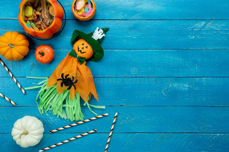 Table top view aerial image of decoration Happy Halloween day background concept stock photos