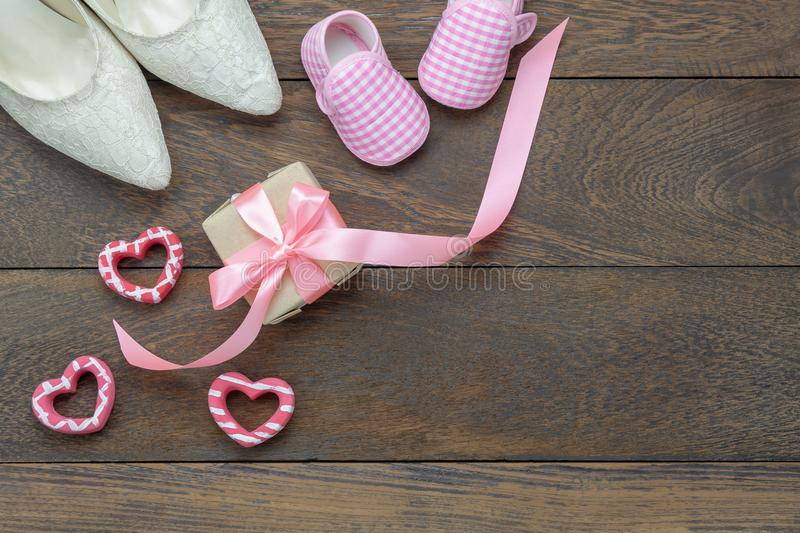 Table top view aerial image of decoration Happy Mothers day holiday or fashion clothing background concept. royalty free stock photo