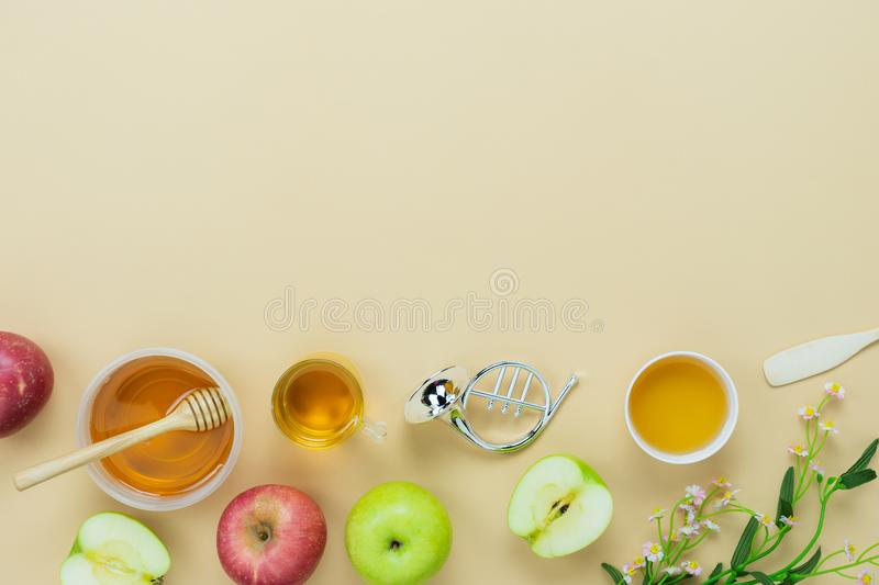 Table top view aerial image of decorations Jewish holiday the Rosh Hashana background concept stock image