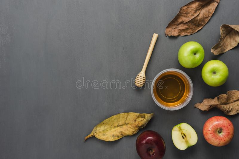 Table top view aerial image of decorations Jewish holiday the Rosh Hashana background concept. stock photo