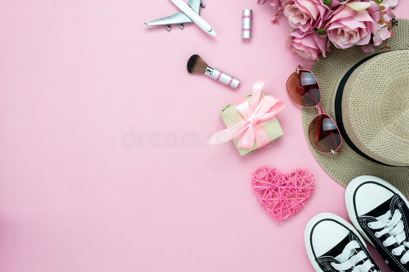 Table top view aerial image of decorations valentine`s day & fashion woman background concept. stock image
