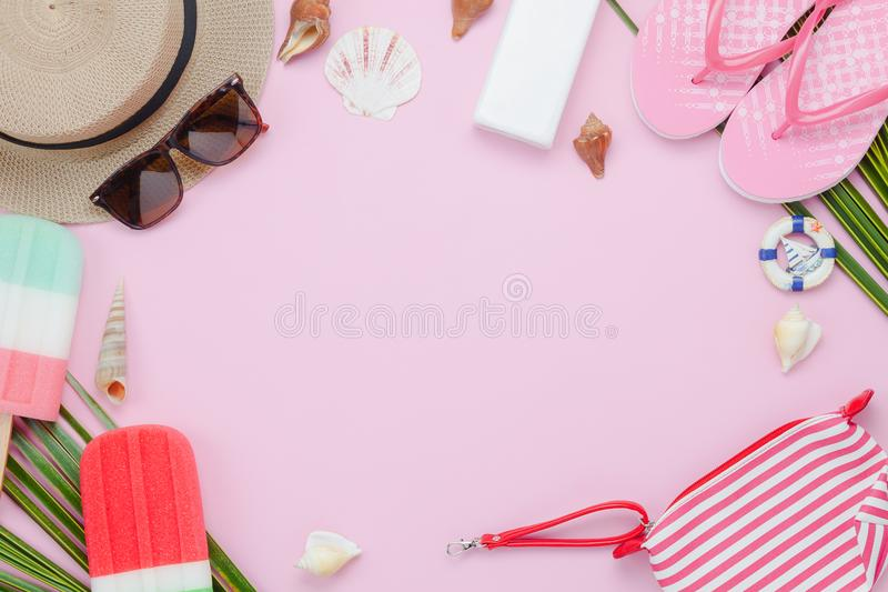 Table top view aerial image of fashion to travel in summer holiday background. stock image