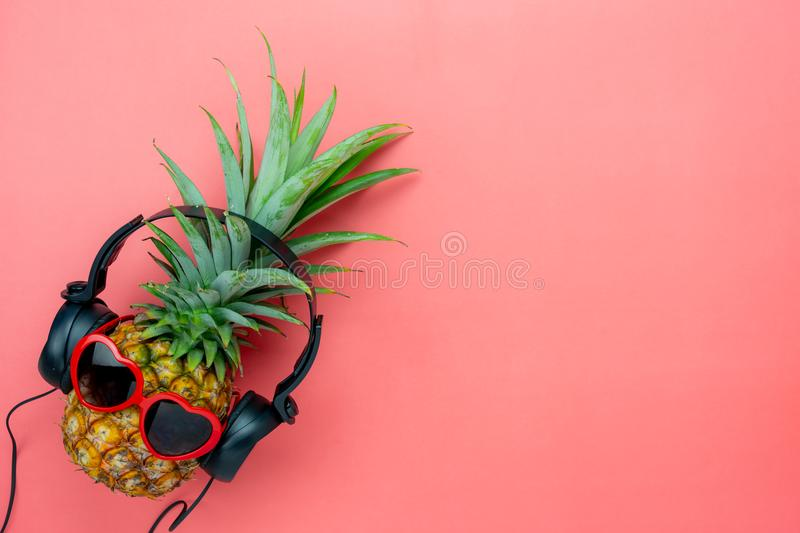 Table top view aerial image of food for summer holiday season & music background concept stock photo