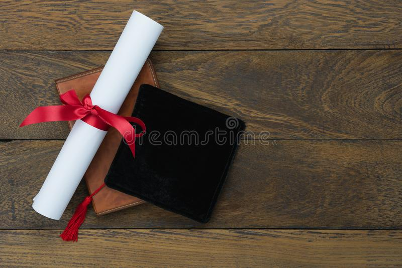 Table top view aerial image of Graduation of education season background royalty free stock photos