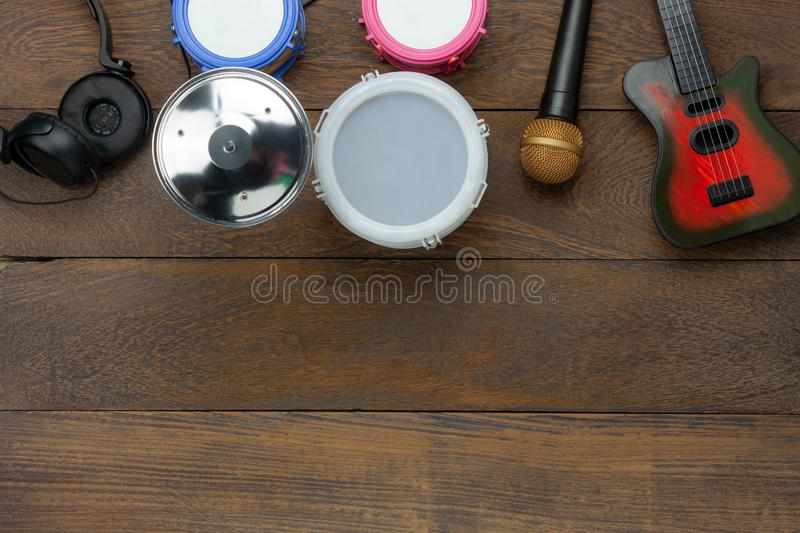 Table top view aerial image of instrument music kids background concept. stock photography