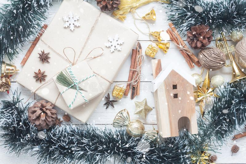 Table top view aerial image of ornaments & decorations Merry Christmas. & Happy New year background concept.Many Different item with snowflakes on modern rustic stock images