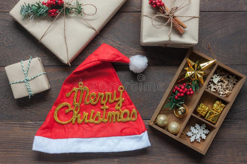 Table top view aerial image of ornaments & decorations Merry Christmas & Happy New year stock photo