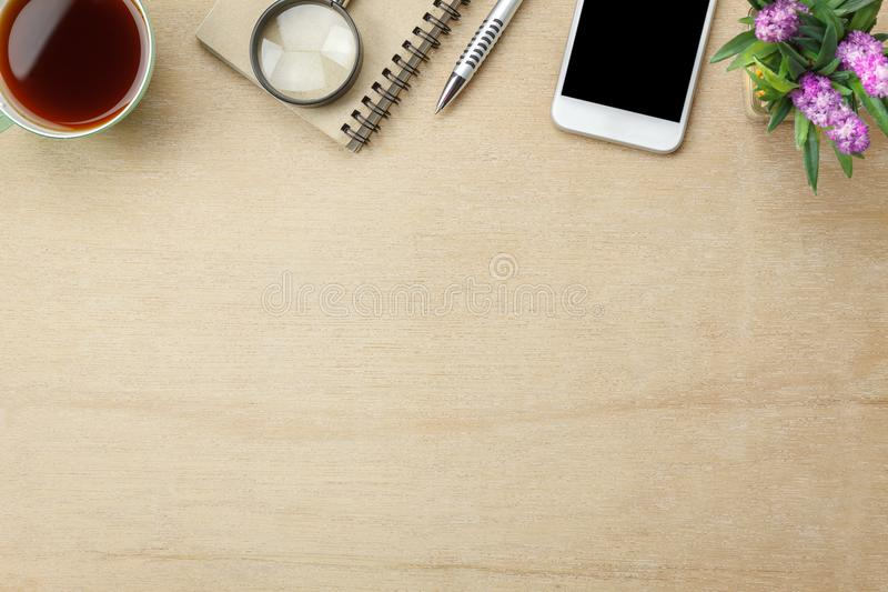 Table top view aerial image stationary on office desk background stock image