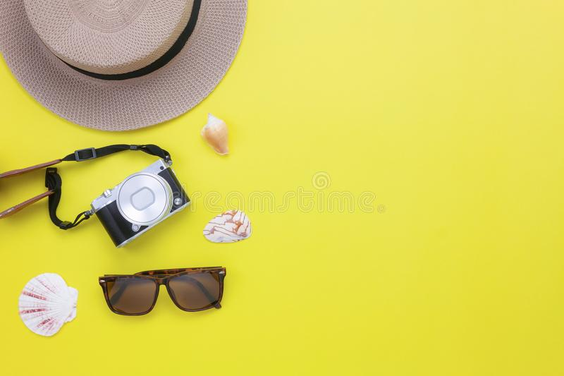 Table top view aerial image of summer & clothing travel beach holiday royalty free stock image
