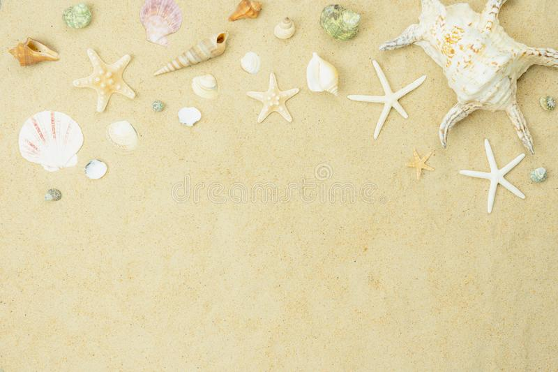 Table top view aerial image of summer & travel beach holiday in the season background concept. stock photo