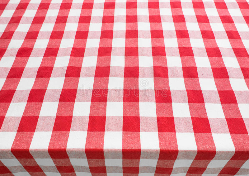 Table top view covered by red gingham tablecloth