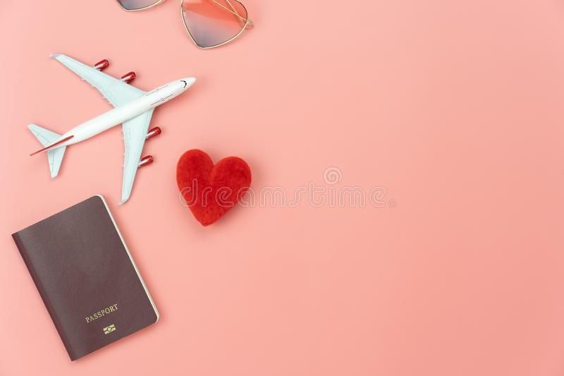 Table top view essential accessory women plan to travel in holiday background. royalty free stock image
