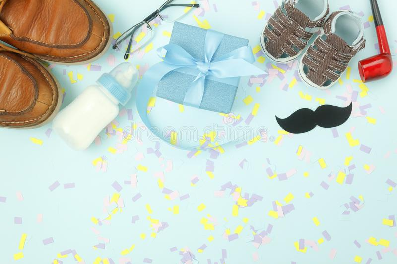 Table top view Happy Fathers day holiday background concept. stock photo