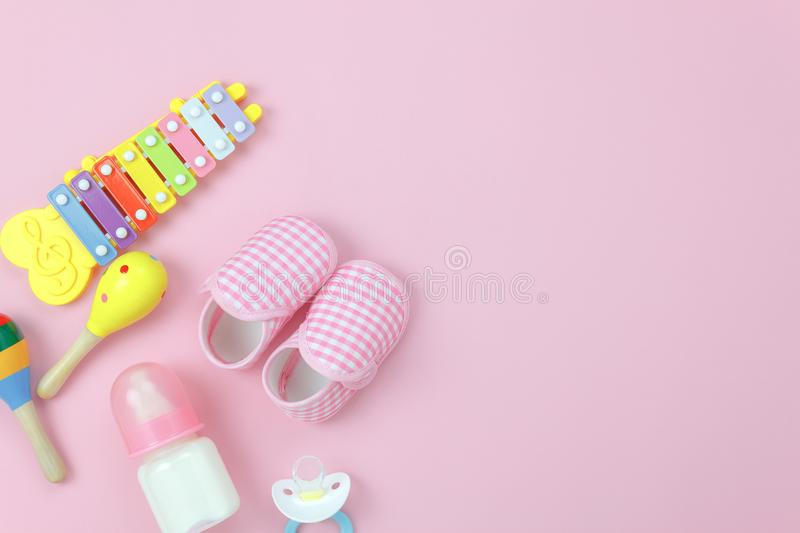 Table top view image the kids toys for development background concept. royalty free stock photo