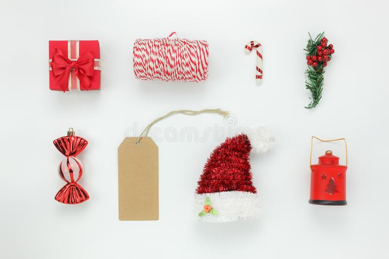 Table top view of items decoration & ornament for merry Christmas & Happy new year. Background concept.Difference essential accessory on the white wooden area stock images