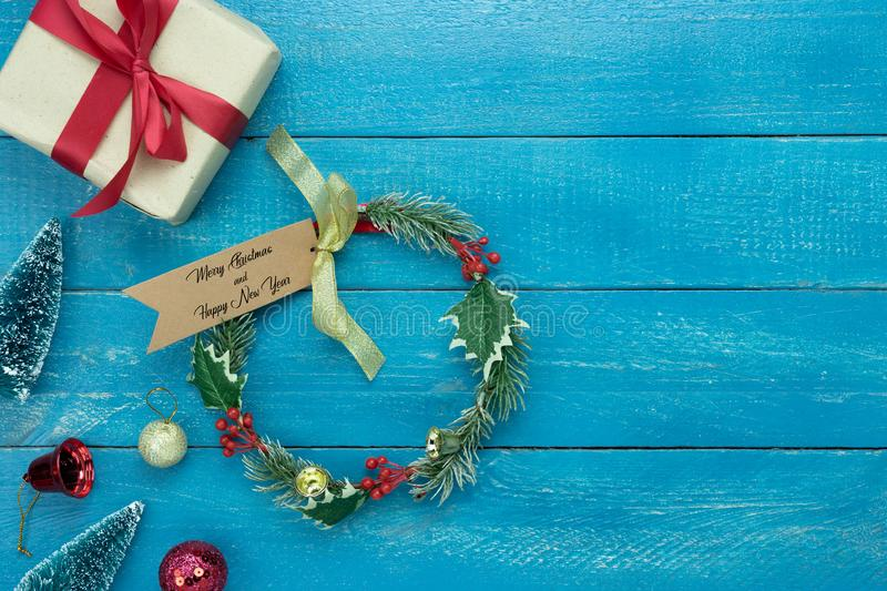 Table top view of Merry Christmas decorations & Happy new year ornaments concept. stock image