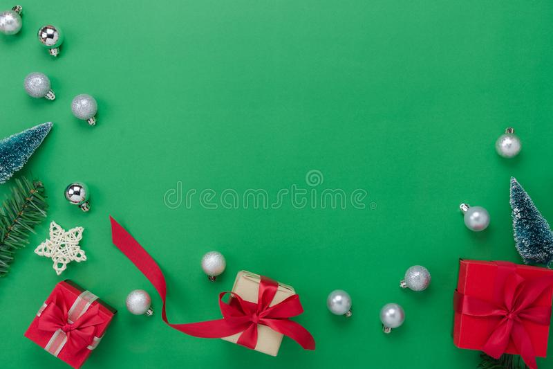 Table top view of Merry Christmas decorations & Happy new year ornaments concept. royalty free stock image