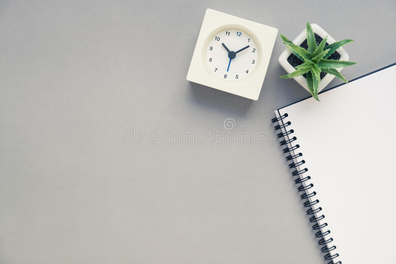 office desk table tops. Download Table Top View Of Office Desk With Clock Stock Image - Notepad, Tops S