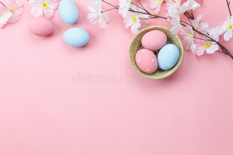 Table top view shot of arrangement decoration Happy Easter stock photo