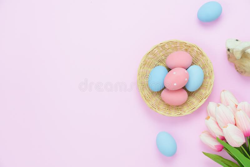 Table top view shot of decorations Happy Easter holiday background concept. royalty free stock photography