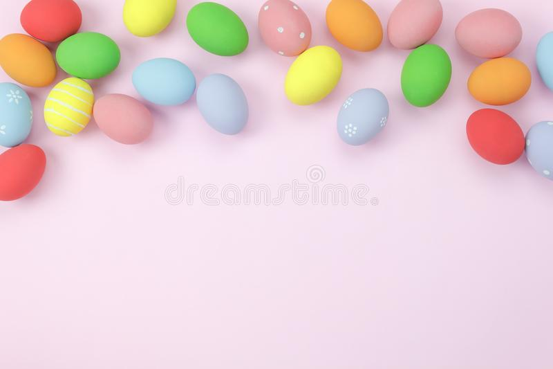 Table top view shot of decorations Happy Easter holiday background royalty free stock photos