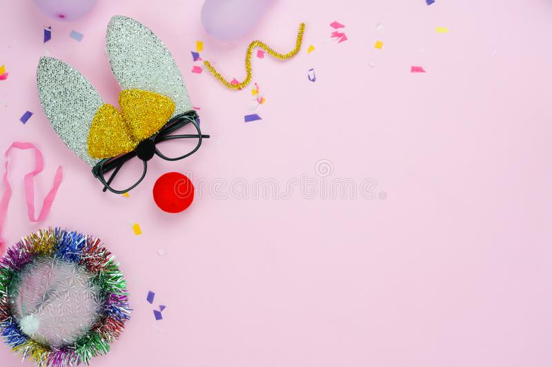Table top view shot of decorations Happy Easter holiday or carnival party festival background concept. royalty free stock images