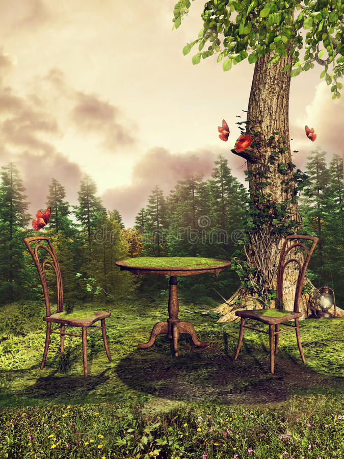 Table and tree with moss. Fantasy table and chairs covered with green moss on a meadow by the forest royalty free illustration