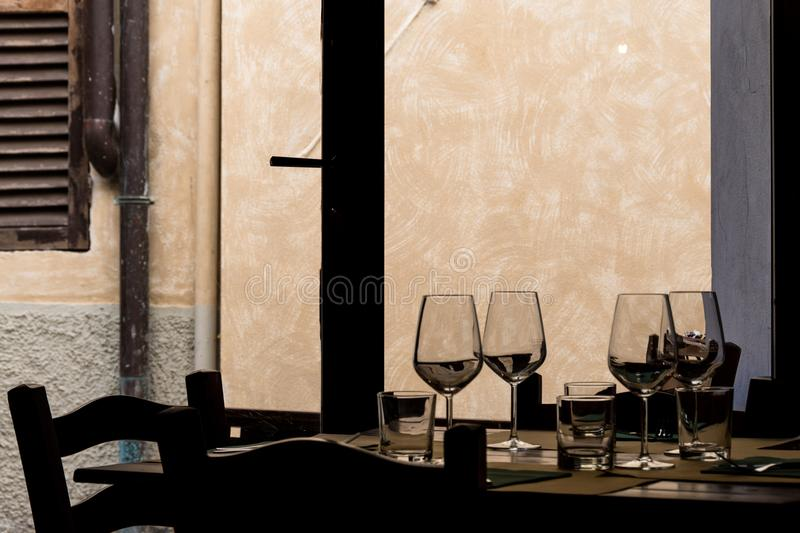 Table of a Tuscan tavern royalty free stock photos