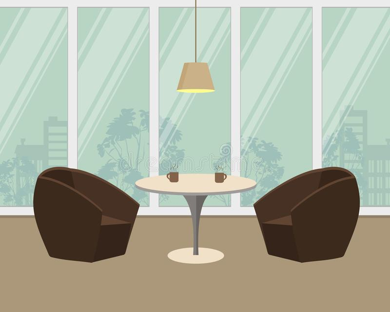 Table and two armchairs on a window background. There are also cups with a hot drink on the table and a lamp in the picture. Vector illustration vector illustration