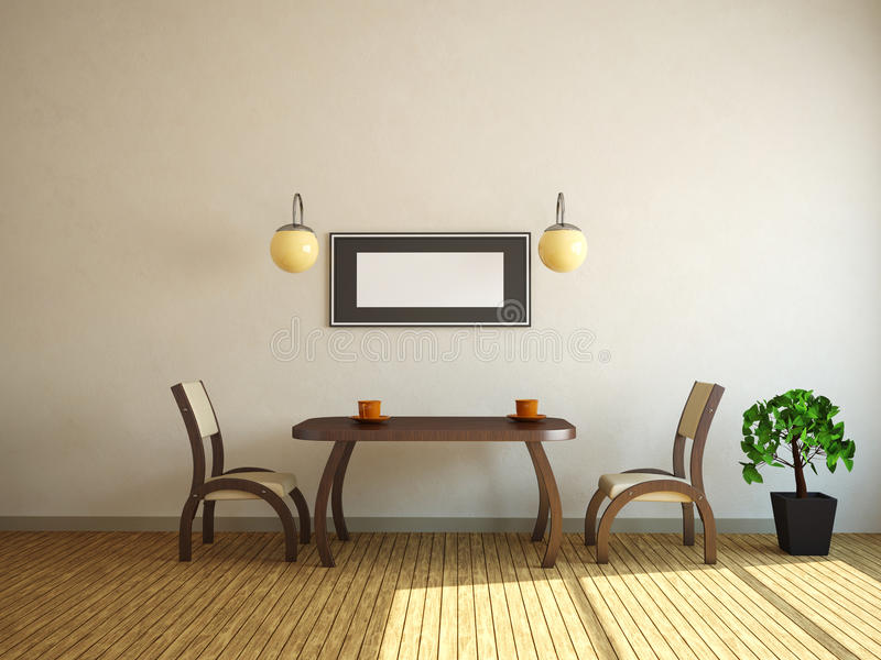 Download Table and two chairs stock illustration. Image of indoors - 24867659