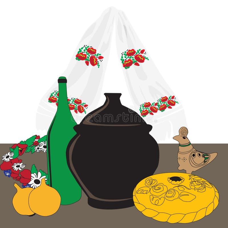 Table with Ukrainian cuisine. Ukrainian dinner table on a white background royalty free illustration