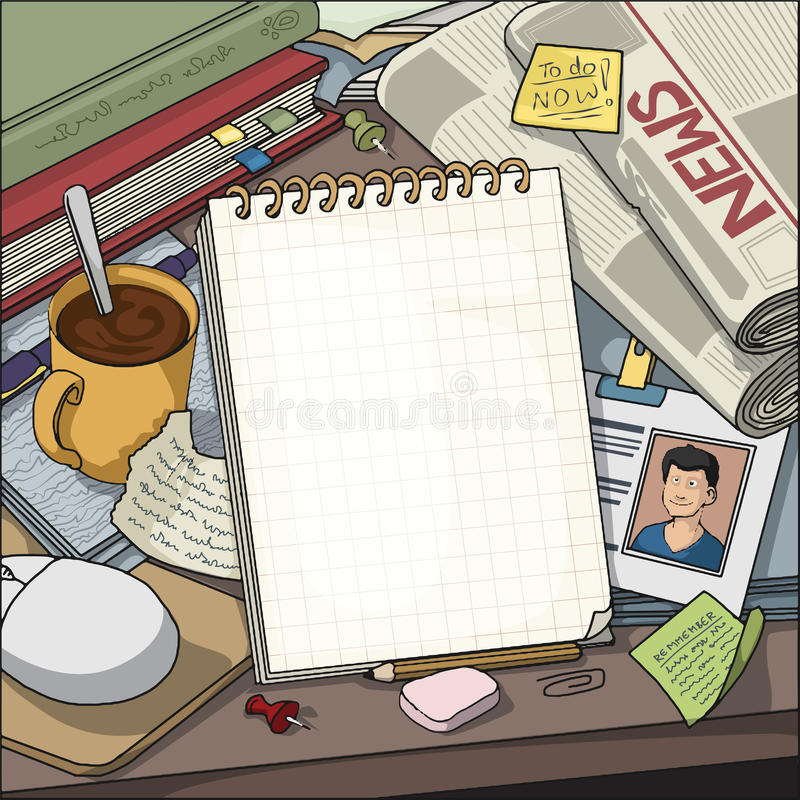 Table with various objects surrounding a blank note book. Background, Ariel view of writers, journalist, bloggers, table with various objects surrounding a blank royalty free illustration