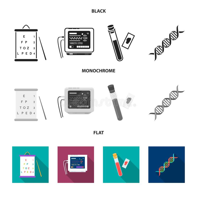A table of vision tests, a blood test, a DNA code, an ECG apparatus. Medicine set collection icons in black, flat. Monochrome style vector symbol stock royalty free illustration