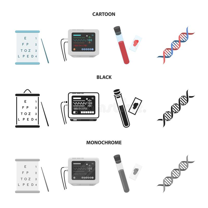 A table of vision tests, a blood test, a DNA code, an ECG apparatus. Medicine set collection icons in cartoon,black. Monochrome style vector symbol stock royalty free illustration