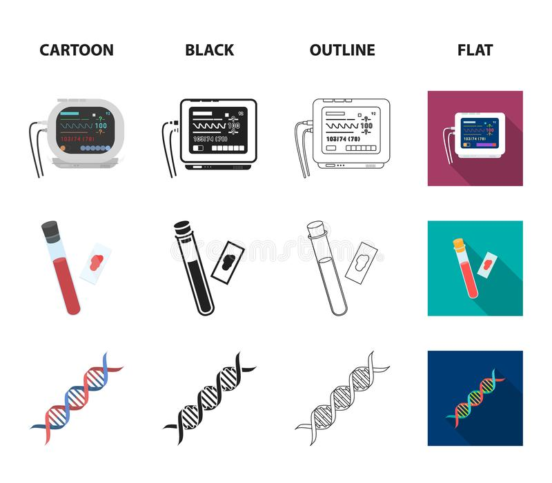 A table of vision tests, a blood test, a DNA code, an ECG apparatus. Medicine set collection icons in cartoon,black. Outline,flat style vector symbol stock vector illustration