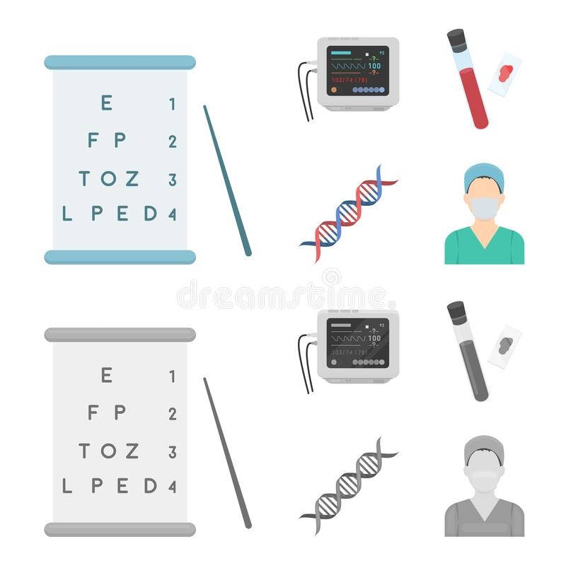 A table of vision tests, a blood test, a DNA code, an ECG apparatus. Medicine set collection icons in cartoon,monochrome. Style vector symbol stock illustration vector illustration