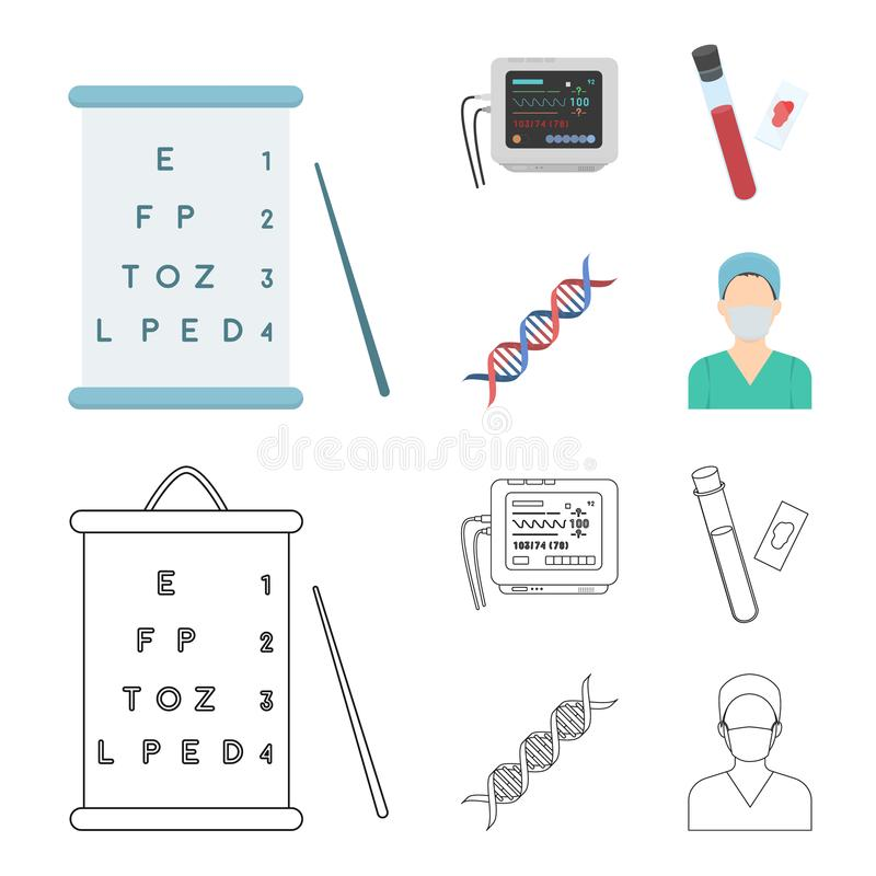A table of vision tests, a blood test, a DNA code, an ECG apparatus. Medicine set collection icons in cartoon,outline. Style vector symbol stock illustration royalty free illustration