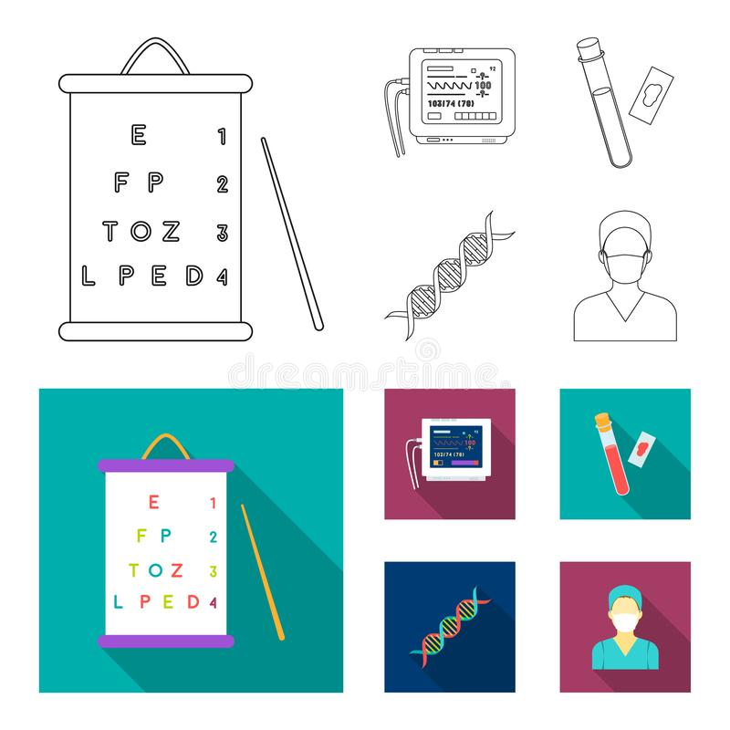 A table of vision tests, a blood test, a DNA code, an ECG apparatus. Medicine set collection icons in outline,flat style. Vector symbol stock illustration royalty free illustration
