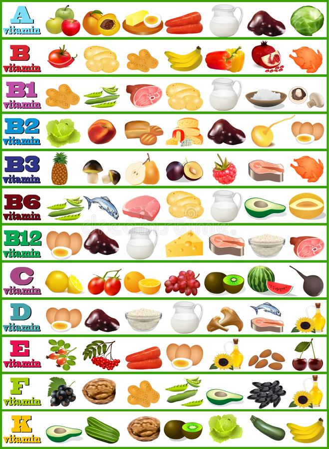 Vitamins - set of food icons organized by content of vitamins. Table of vitamins - set of food icons organized by content of vitamins royalty free illustration