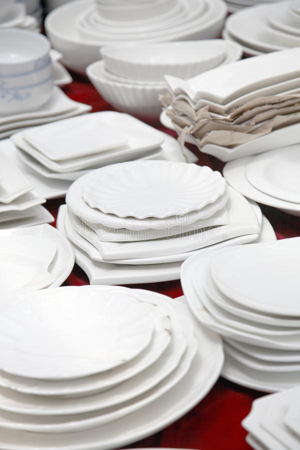 Table ware market stall. Pocelain tabler ware in market stall stock photography