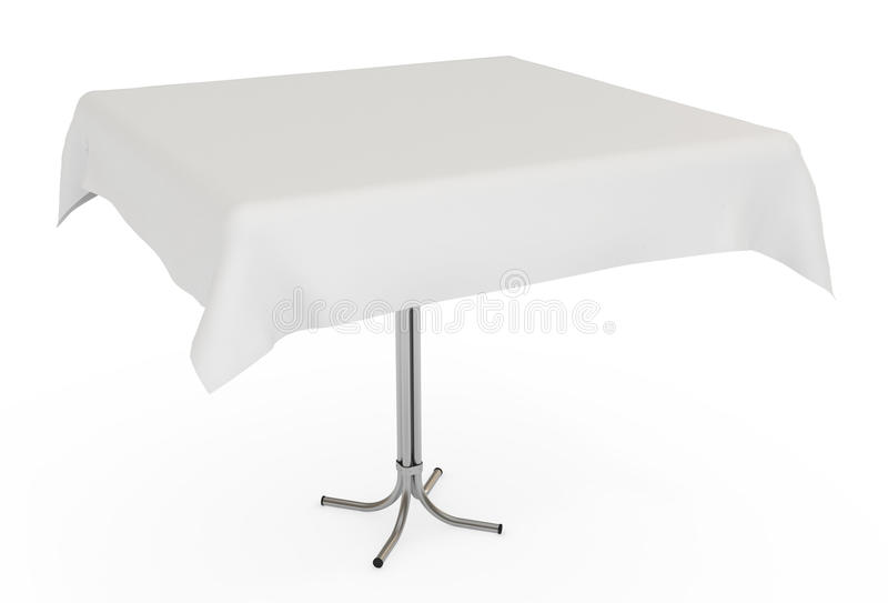 Download Table With White Cloth, Isolated, Clipping Path Stock Photo - Image: 18654290