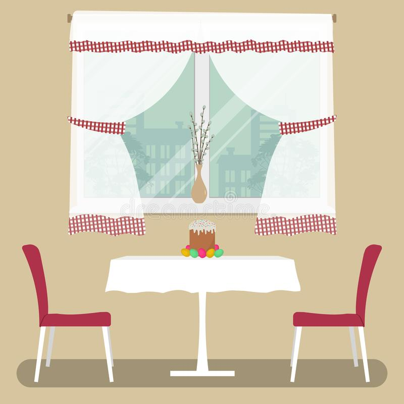 A table with a white tablecloth and two red chairs on a window background. There is an Easter cake and Easter eggs on the table. There is a vase with willow stock illustration