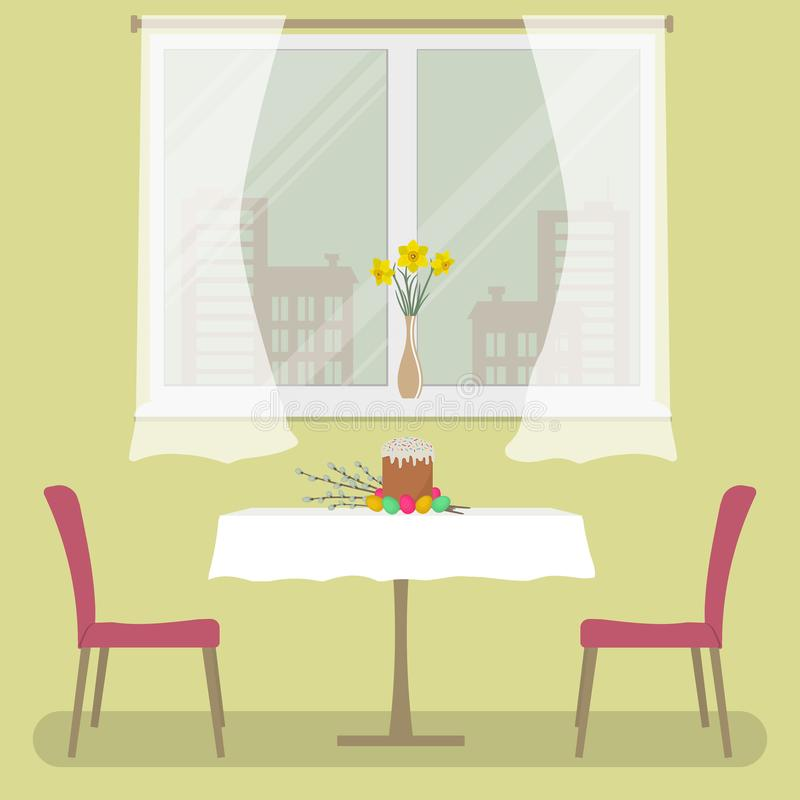A table with a white tablecloth and two red chairs on a window background. There is an Easter cake, Easter eggs on the table. A table with a white tablecloth and royalty free illustration