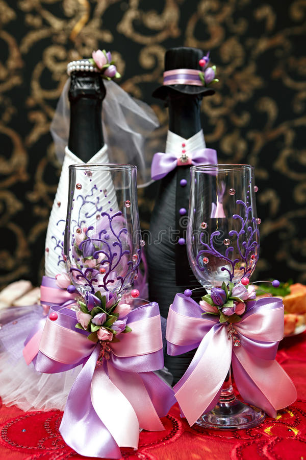 Table wine glasses for wine. On a festive table stock images