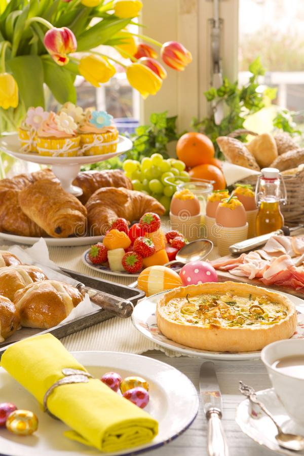 Free Table With Delicatessen Ready For Easter Brunch Stock Image - 107747091