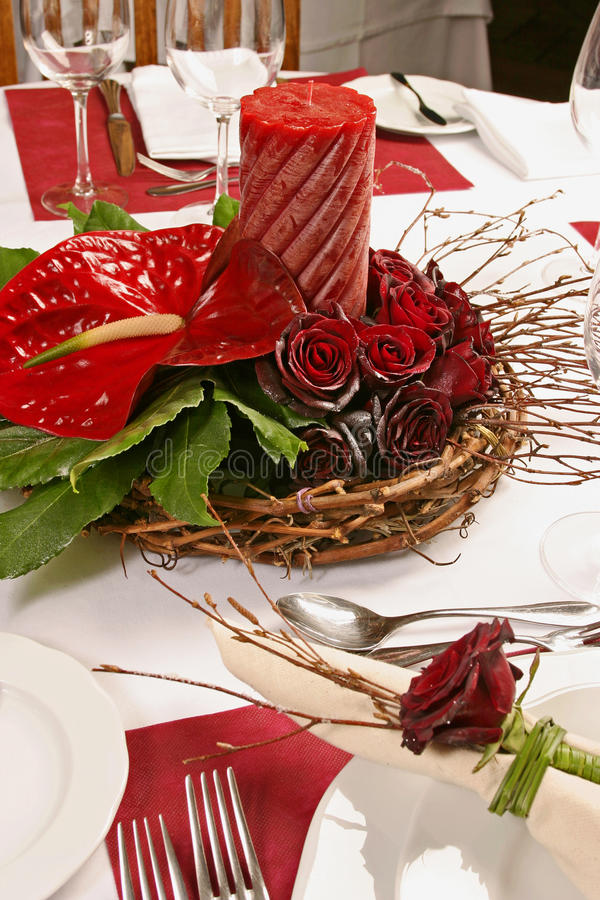Free Table With Red Roses And Candle Royalty Free Stock Photo - 27455375