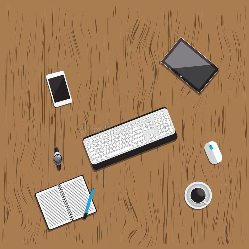 Table wood working business meeting high angle view. Is a general illustration stock illustration