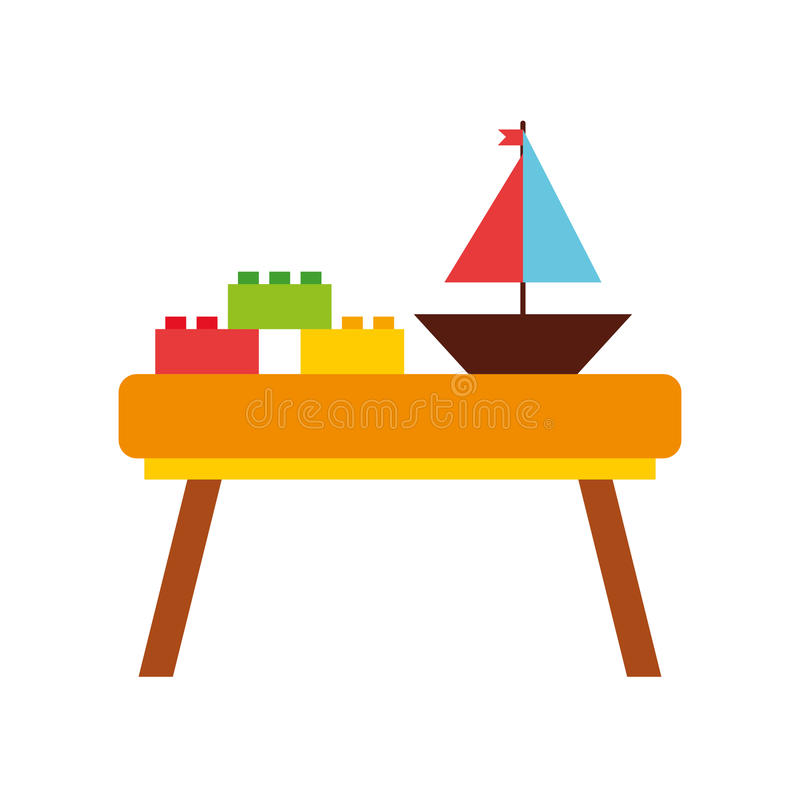 Table wooden with toys vector illustration