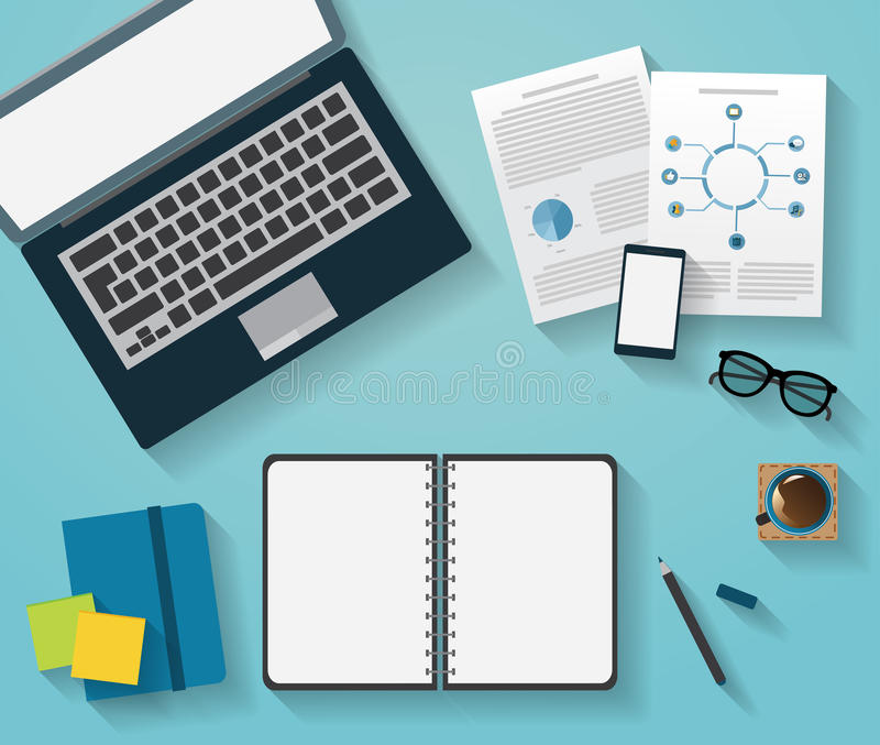 Table, Working, Businees, Meeting, High Angle View. Table Working Businees Meeting High Angle View royalty free illustration